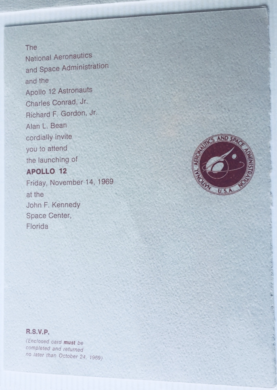 Apollo 12 launch invitation